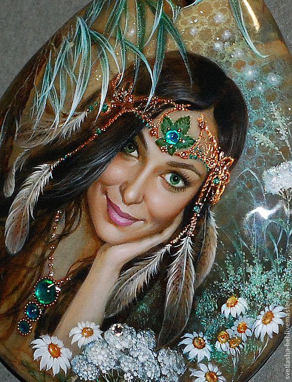 Купить Хранительница Леса - портрет по фото, роспись по камню, живопись маслом, лаковая миниатюра