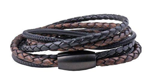 Dette armbånd i sort og antik-brun lædersnor vikles to gange om armen. Der er brugt forskellige slags lædersnore og de er alle limet ind i samme magnetlås.  Du bestemmer selv hvor mange gange armbåndet skal omvikles, men regn med ca. 20-22 cm snor pr. omgang – plus låsens længde.  smyks.dk | smyks.de | smyks.com