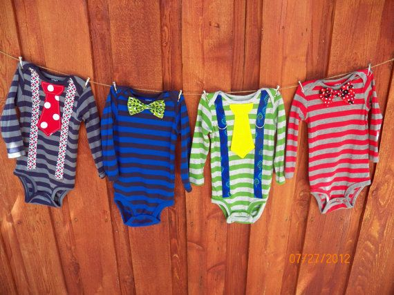 GET THE SET of 4 Baby Boy Bow Tie Onesies with by
