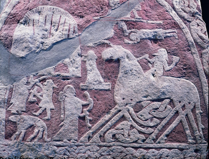 Stone carving of the viking saga found on swedish