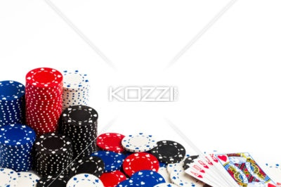 prize of poker - Straight flush of heart beside of pile of token indicating a winning hand.