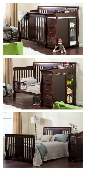 This versatile crib and changer set grows along with your child. The sleeping component converts from a classic crib to a toddler bed and then to a full-sized child's bed. This practical, comfortable, and durable children's furniture set is a great investment in your child's comfort and your own convenience. Shop now at hayneedle.com and receive free shipping!