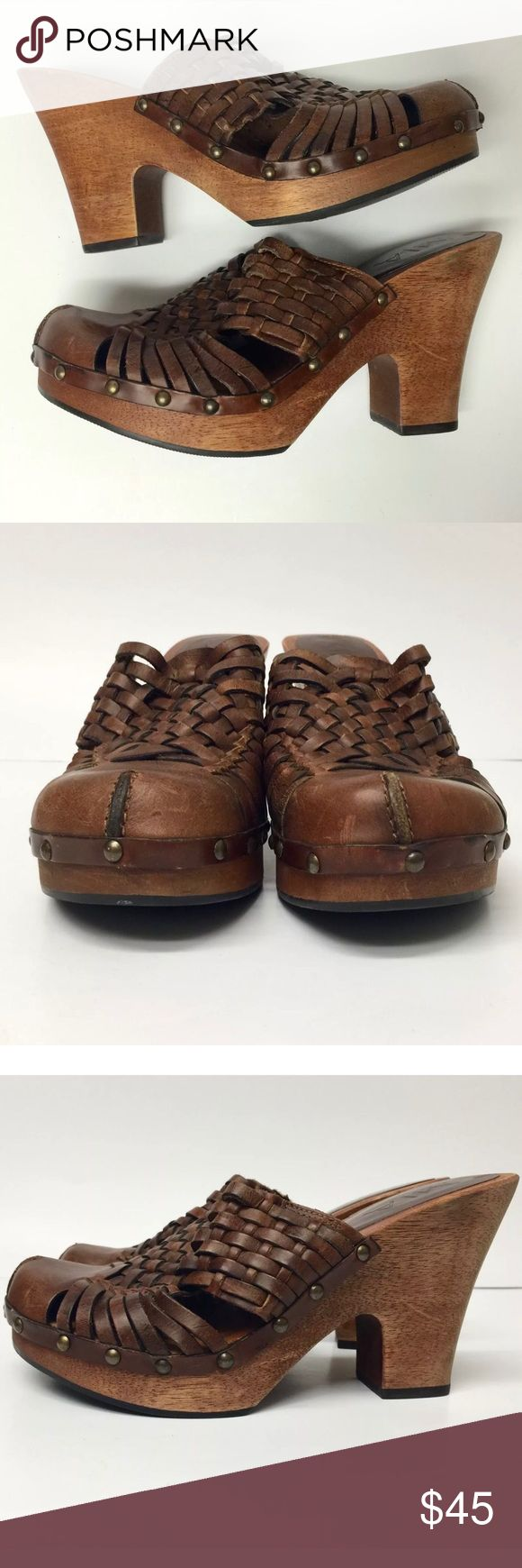 Mia Clogs Huarache Style Heels Woven Leather Mia Clogs Mules Huarache Style Heels Womens Size 6 Casual Woven Leather  Maker- MIA Color- Brown Size- 6 Condition- Good used condition. Normal signs of wear. Please see photos. MIA Shoes Mules & Clogs