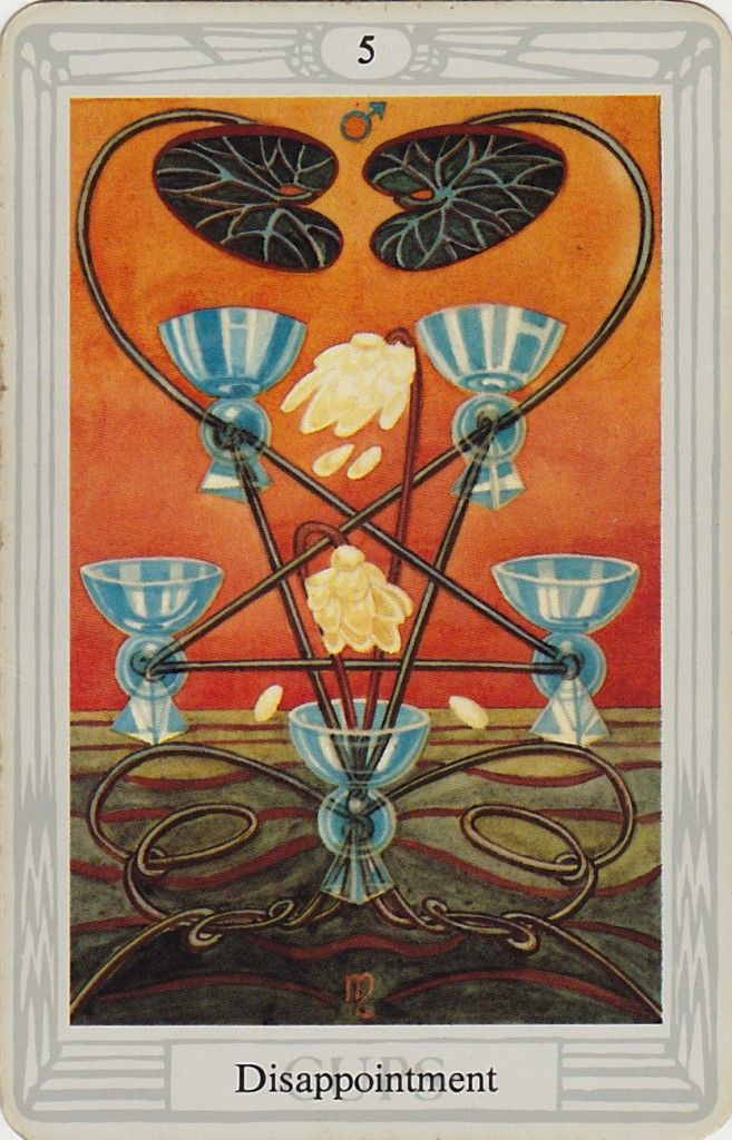 Thoth Fortune Tarot Card Tutorial: Five Of Cups ~ Thoth Tarot (disappointment)