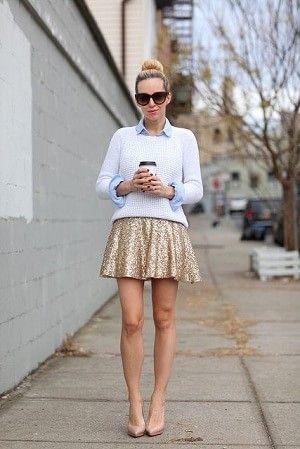 ゴールド系のラメ入りスカートはカジュアルかつゴージャスな着こなしに♪キュートなフレアミニスカートのコーデ☆スタイル・ファッションの参考に♪