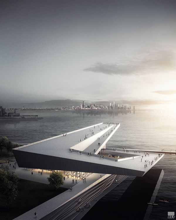 Design proposal by Skidmore Owings & Merrill for Obama's Presidential Library at Chicago Lakeside - Visualization by WAX