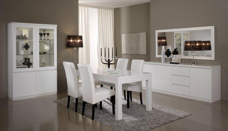 Salle à manger complète design laquée blanche Cristal - Salle à manger laquée moins cher - MATELPRO