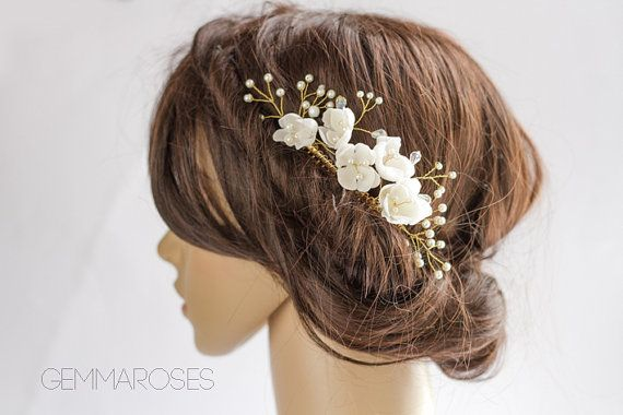 Bridal Headpiece, Wedding Silk FlowerHair accessory, Bridal Adornment, Beaded headpiece, Bridal comb, Pearl bead headpiece with gold twigs