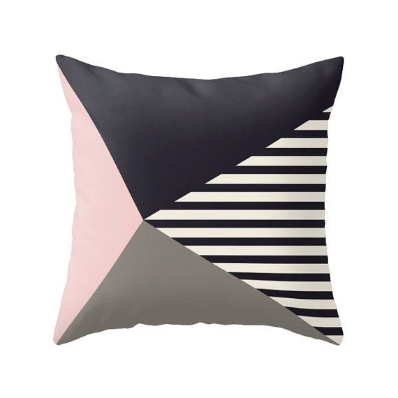 Geometric pillow cover in black and very light cream.  Please select which size you would like using the drop-down menu options above the add to cart green button.  This listing is for the cover only, if you want to add an insert go to this listing and add it to your purchase: https://www.etsy.com/uk/listing/202476340  + Fabric: 100% spun polyester poplin fabric (similar to the look and feel of canvas) + Double-sided print + Finished with a concealed zipper for ease of care + Available in…