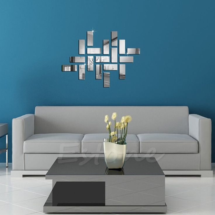 Silver Acrylic 3D Rectangle Mirror Effect Mural Wall Sticker Decal Home Decor #Unbranded