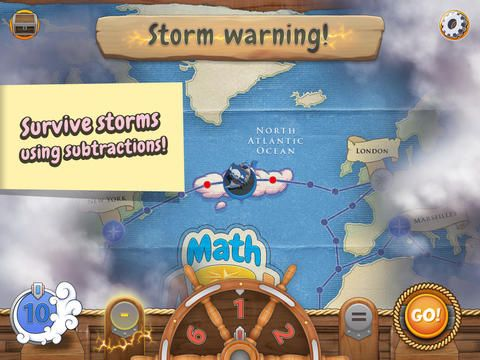 Math Ahoy! ($0.99)  aligned with the following US Common Core standards: - Counting & Cardinality (Kindergarden) - Operations & Algebraic Thinking (Kindergarden, Grade 1) You are a pirate and your mission is to collect treasures from cities around the world. The King's Fleet is trying to stop you but they're no match for your wits! The world map is your playing field: you decide where you want to go and use math to get there.