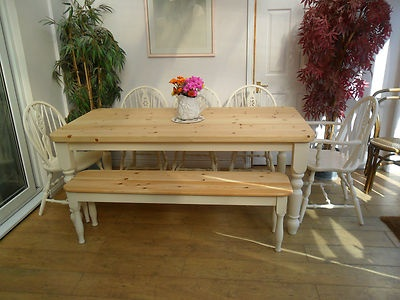 pine farmhouse dining table and chairs and bench painted shabby chic in home furniture u0026 diy furniture table u0026 chair sets