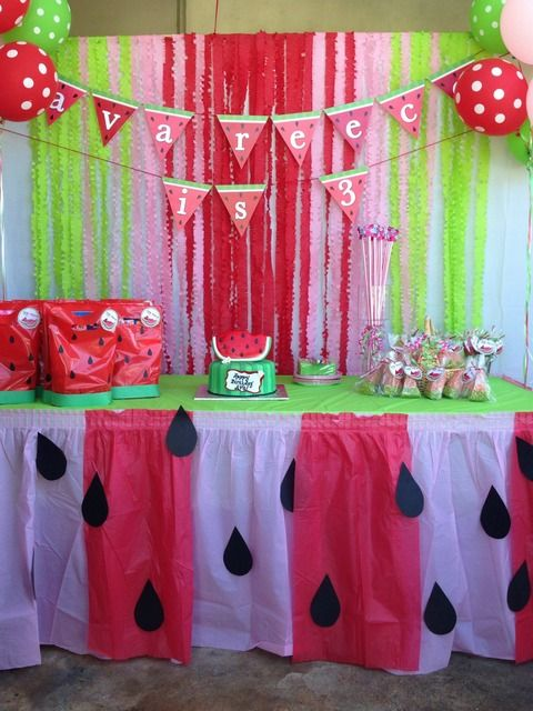 Pretty dessert table at a watermelon party!  See more party ideas at CatchMyParty.com!  #partyideas #watermelon