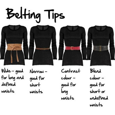 Tips for Belting waist height: less than two full hands under bust - short, more than two full hands - long