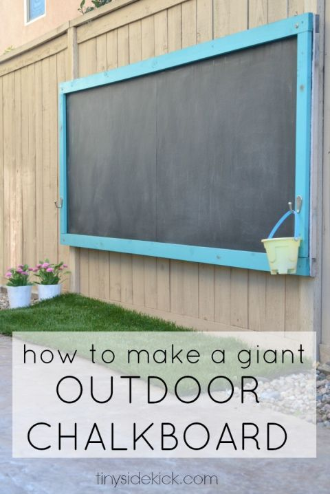 Rather than covering every inch of your sidewalk and driveway and chalk, let kids flex their creative muscles with this outdoor chalkboard. No need to worry about erasers—rain will provide a natural cleaner.  Get the tutorial at Hey There Home.