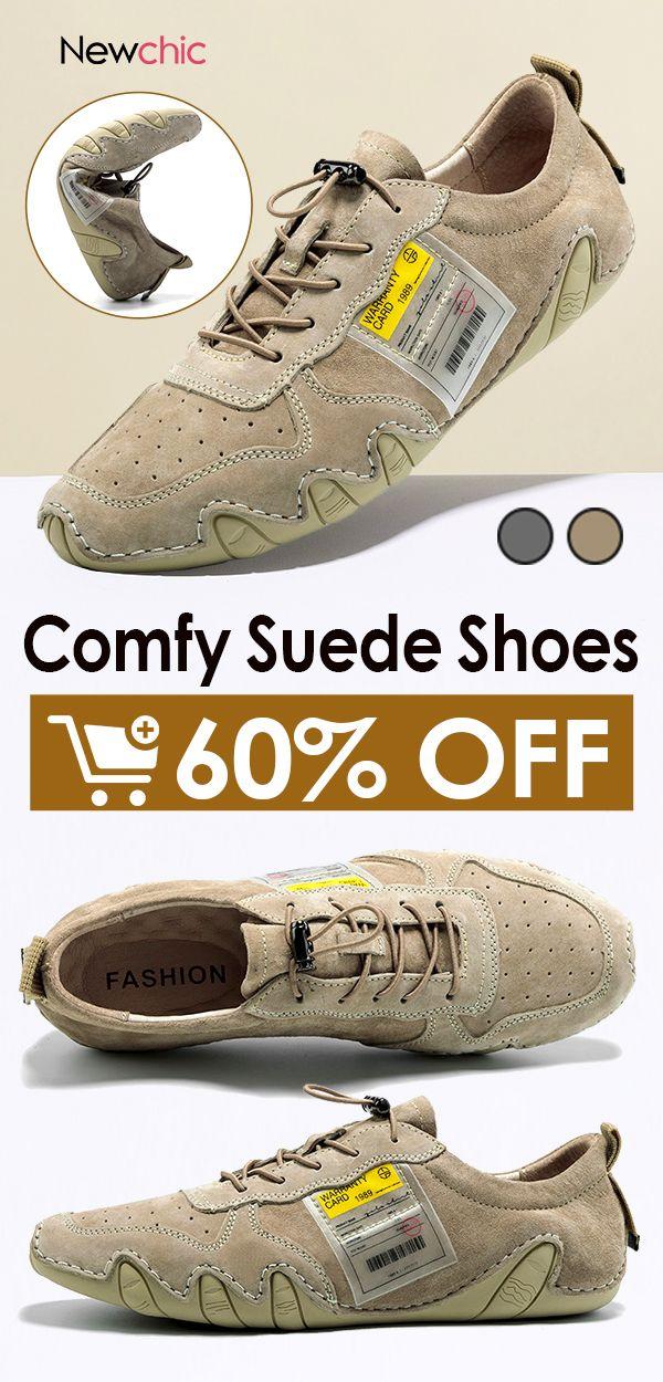 Men Suede Non Slip Elastic Lace Soft Sole Casual Driving Shoes Soft Casual Scarpe Scarpe Da Uomo