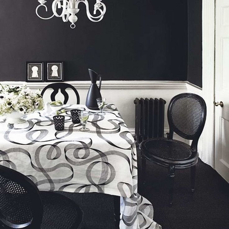 17 Black And White Traditional Dining Areas : Simple Dining Room With Black  White Wwall Decor