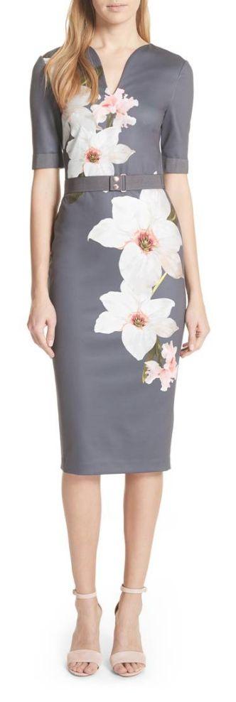 belted bold floral sheath dress