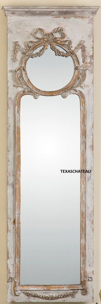 LARGE ORNATE FRENCH ANTIQUE CREAM & GOLD TRUMEAU WALL MIRROR DRESSING LEANER NEW #Doesnotapply #FrenchCountry