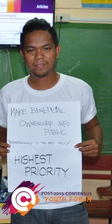 After learning about the costs and benefits of the proposed United Nations post-2015 development targets, this young man from the Philippines ranked 'make beneficial ownership information public' as high top priority.