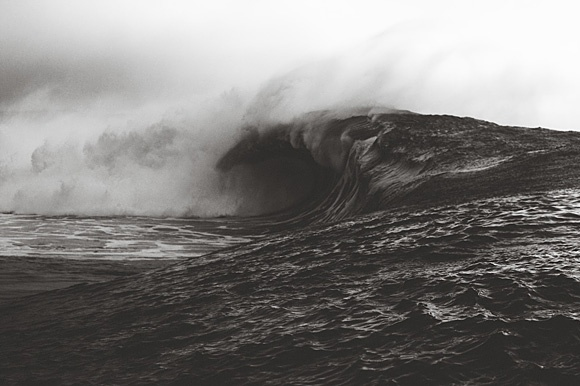"""""""Raw"""". A huge gnarly wave captured beautifully on black & white film by surf photographer Mickey Smith"""