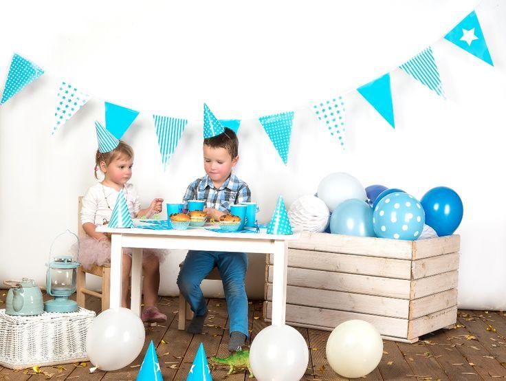 dekoracje urodzinowe, urodziny, błękitne, dekoracje papierowe, partybudziki.pl