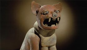 Monumental jaguar sculpture. Mexico. Southern Veracruz. Maya, AD 600–900. Painted buff ceramic. Jay I. Kislak Collection, Rare Book and Special Collections Division, Library of Congress.