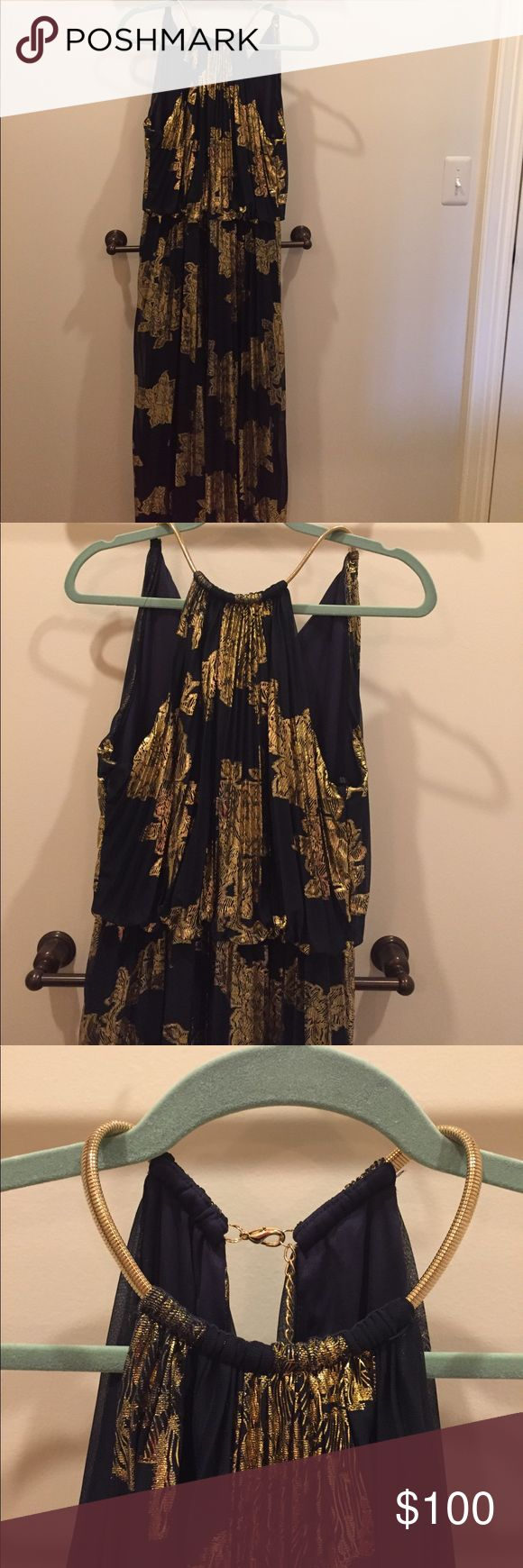 💃 NWOT dress 🎉👗 Brand new!! Pretty dress for occasions ,navy color with gold ,size 14 Xscape Dresses Prom