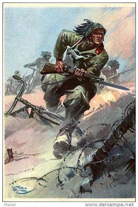 Pisani, Vittorio - Bicycle- 5th Rgt Bersaglieri Attacking (Prop- Italy- WWII)