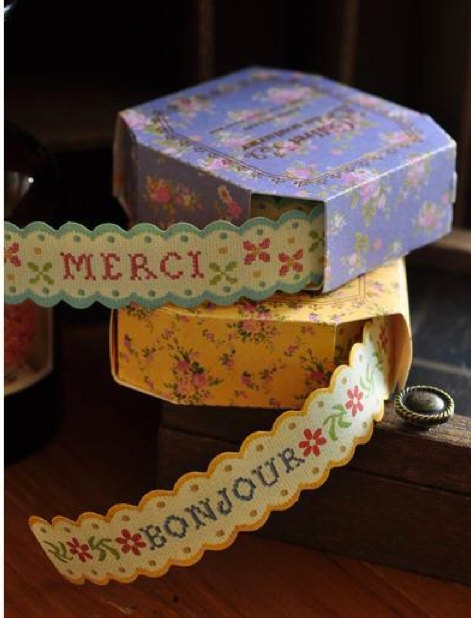 Retro Victorian Floral Flower French Words Scallop Lace Paper Deco Tape Sticker Set of 5 Designs, $18.00