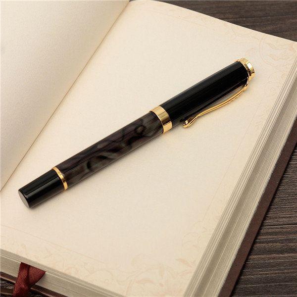 JINHAO 500 Marbled Black Gold Medium Nib Fountain Pen Golden Clip Trim