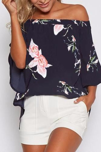 Navy Off Shoulder Bell Sleeve Floral Print High Low Top