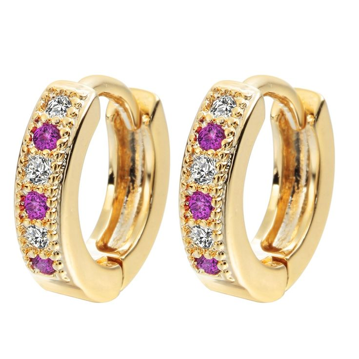 2016 New  Gold Plated Colorful Classic Baby CC Hoop Earrings For Women Zirconia Earring For Teen Girls Indian Jewelry A1174