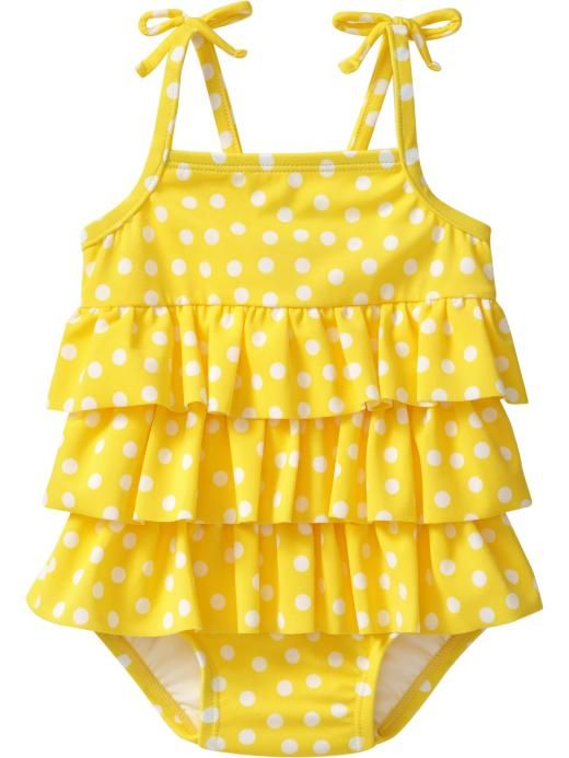 yellow polkadot ruffled swim suit.