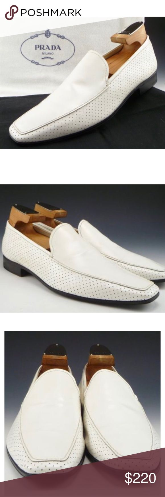 PRADA Men's Driving Loafers size 7.5 Authentic Iconic Prada white Leather loafers size 7.5 Prada  Shoes Loafers & Slip-Ons