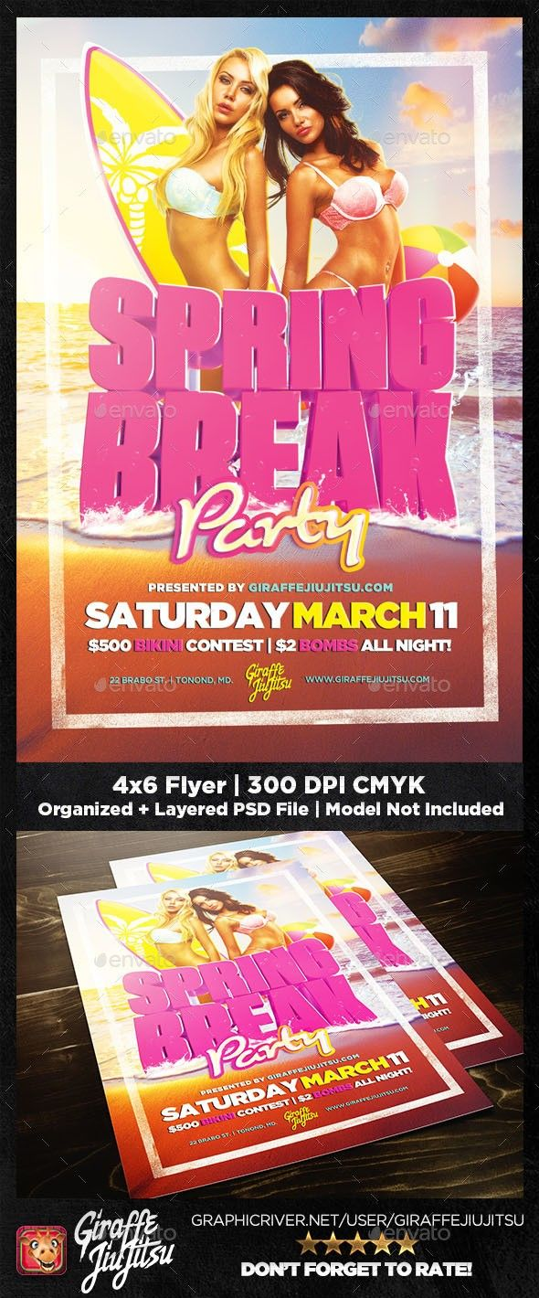 """bar, beach, Cancun, club, college kids, college night, dancig, dancing, edm, exotic, fraternity, giraffejiujitsu, nightlife, puerto rico, sorority, spring break, tropical, vacation Spring Break 2018 Flyer Template – designed for your Spring Break, College Night, or vacation themed party.   Well organized 4×6 300DPI CMYK PSD File – easy to edit & ready to print.   NOTE: """"Spring Break"""" is a 3D Render made in Cinema4D & Octane. It CANNOT BE EDITED.   Fonts Used:   Gotham Font Famil…"""