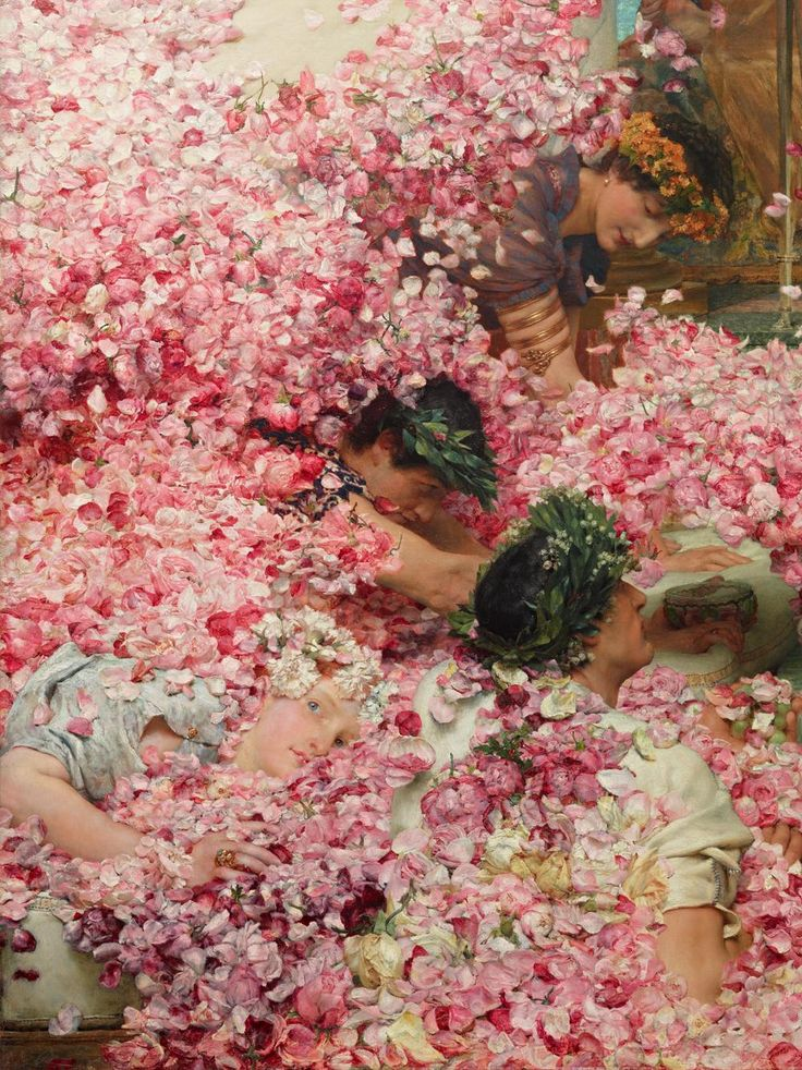 anorangeatthemuseum:  The Roses of Heliogabalus (1888), Detail Sir Lawrence Alma-Tadema