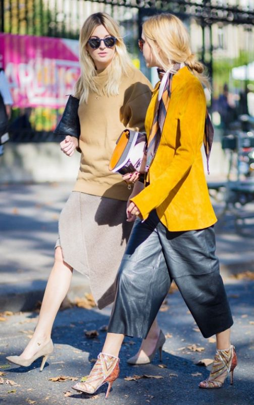 Bold yellow blazer + printed scarf + camel sweater + leather pants + culottes = ultra chic street style