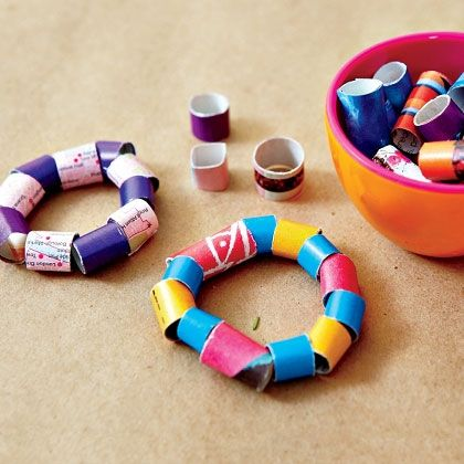 Recycled Paper Beads  This fun and easy craft helps little ones hone their fine motor skills while creating beads from old magazines and catalogs.