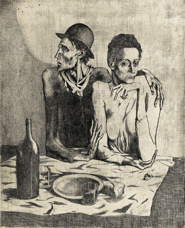 Picasso, Repas frugal, 1904, eau-forte