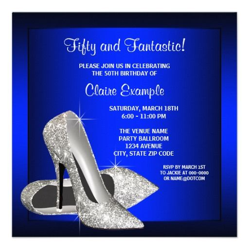 Royal Blue High Heels Womans Birthday Party Card
