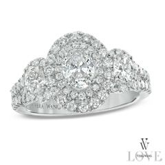 Vera Wang LOVE Collection 1-1/2 CT. T.W. Oval Diamond Vintage Three Stone Engagement Ring in 14K White Gold - View All Jewelry - Gordon's Jewelers