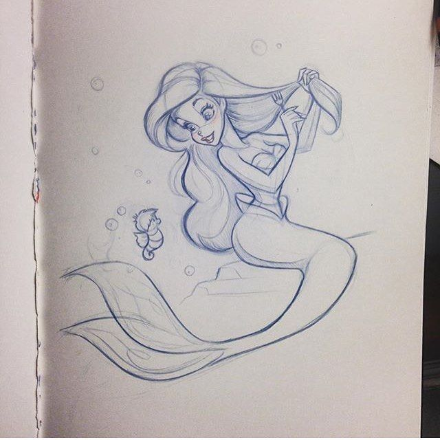 disney.arts: Simply perfect !  Tag a friend who loves the little mermaid  Done by @nicolegarber2  #disneyarts
