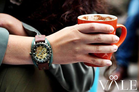 Women watch green leather strap steampunk watch Personalized