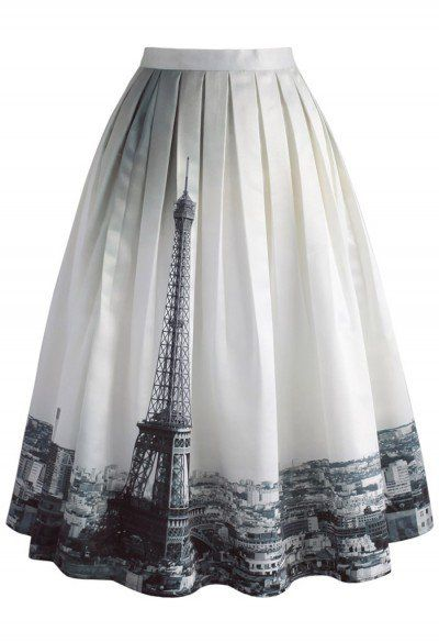 Eiffel Tower Dream Printed Midi Skirt