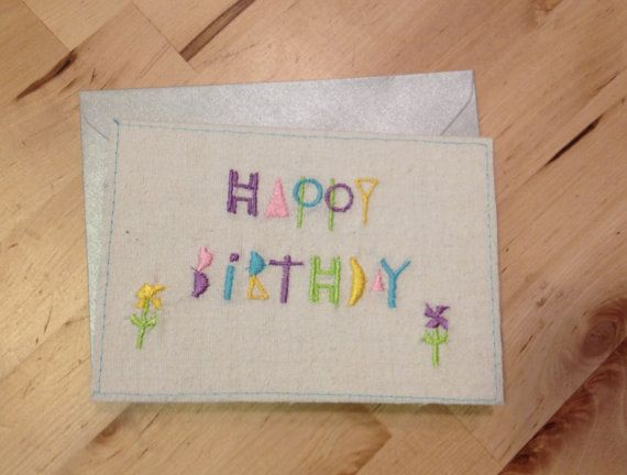 Embroidery Birthday cards @Etsy  #Birthday card #Embroidery #Hand Made