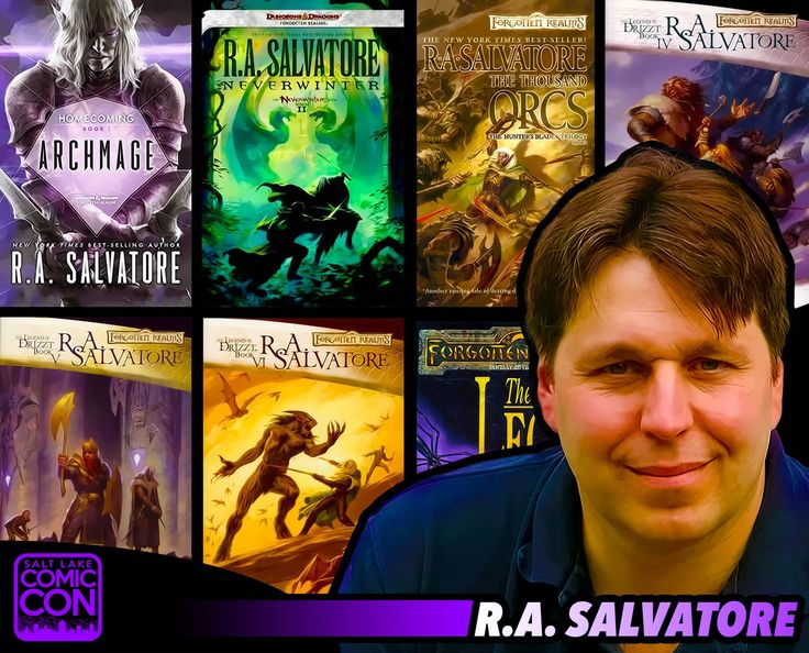Welcome our next Salt Lake Comic Con 2015 guest... best-selling author R.A. Salvatore! He is best known for the fantasy series Forgotten Realms, a popular Dungeons & Dragons setting. R.A.'s novels include Icewind Dale Trilogy, The Dark Elf Trilogy, The Hunter's Blades Trilogy, The Cleric Quintet, and Vector Prime, the first novel in the Star Wars: The New Jedi Order series. He also created the character named Drizzt Do'Urden. Meet R.A. Salvatore in September.  /  #SLCC15 tickets are on sale…