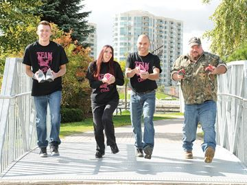 Barrie women and children't shelter fundraiser, Walk a Mile in Her Shoes returns - Team Wyld Chld has been the top fundraising team for the last three years. From the left, Drew Culos, Tabatha Duchesne, John Skinner and Jason Coward.