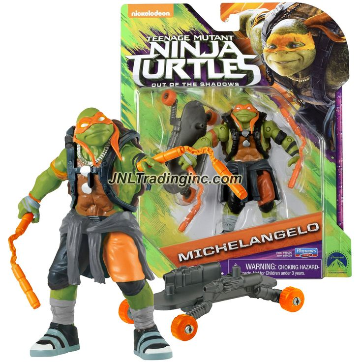 "Playmates Teenage Mutant Ninja Turtles TMNT Movie Out of the Shadow Series 5"" Tall Figure - MICHELANGELO with Nunchucks and Skateboard"