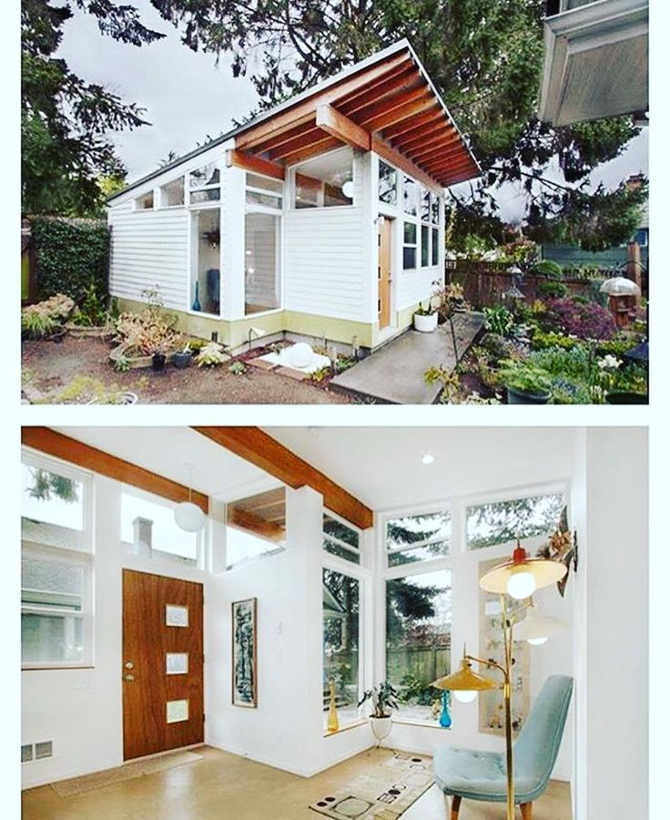 """Seriously the most adorable house ever! PT. 1 #midcentury #tinyhouse #guesthouse #Repost @tinyhousemag  The """"Orchid Studio designed and built by #Seattle based First Lamp Architects @firstlamparchitects #interiors #interiordesign #architecture #decoration #interior #home #design #camper #bookofcabins #homedecor #decoration #decor #prefab #diy #campervan #compactliving #fineinteriors #cabin #shed #tinyhomes #tinyhouse #cabinfever #FABprefab #tinyhousemovement #airstream #treehouse #cabinlife"""